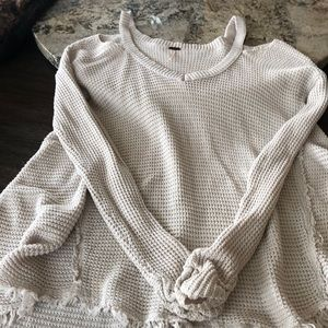 Peak a boo shoulder free people sweater